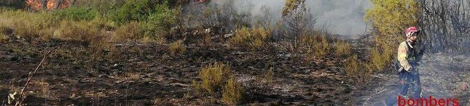 Foc de vegetació amb cinc focus diferents a l'Espluga Calba