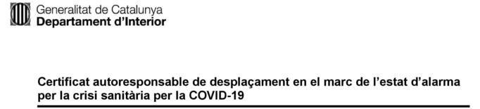 """Per a què serveix el """"certificat autoresponsable"""" durant el confinament?"""