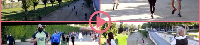⏯️ La vora del riu a Lleida s'omple de gent fent esport i passejant