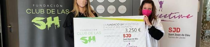La Fundació 5H entrega un xec solidari per valor de 3250 € al Sant Joan de Déu de Lleida