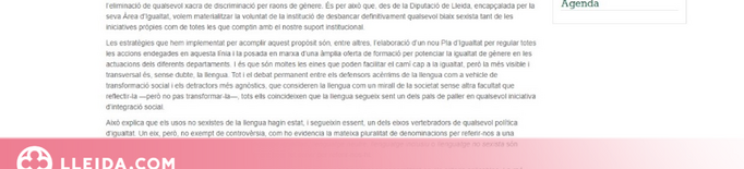 La Diputació distribuirà a tots els ajuntaments de la demarcació una guia per a l'ús d'un llenguatge inclusiu i no sexista