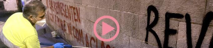 ⏯️ Comença la neteja de les pintades fetes a la façana de l'IEI