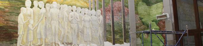 Josep Minguell reivindica la pintura al fresc en plena pandèmia amb un mural de 100 metres quadrats
