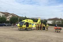 Un ferit a l'enfonsar-se un sostre del nou edifici de l'institut de Guissona
