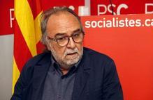 Pla curt del regidor electe del PSC, Xavier Rodamilans, en roda de premsa a la seu del partit el 30 de maig de 2019