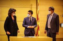 Pla mitjà llarg del vicepresident amb funcions de president, Pere Aragonès, amb la consellera d'Agricultura, Teresa Jordà, i el president de la Diputació de Lleida, Joan Talarn