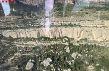 Imatge aèria del lloc on s'ha accidentat l'escaladora al congost de Collegats