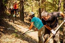 Pla general de voluntaris treballant al bosc l'estiu del 2020.
