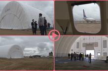 ⏯️ Buildair instal·la un hangar inflable a l'aeroport de Lleida-Alguaire
