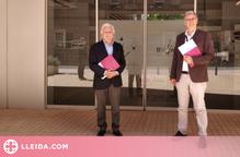 El director de l'IRBLleida, Diego Arango i el president de la Fundació Joan Oró, Francesc Oró