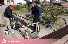 Tàrrega comença a restaurar els seus bancs de fusta