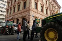 Una desena de tractors es manifesten per Lleida per reclamar solucions a la crisi de preus de la fruita dolça
