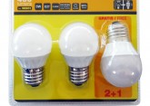 KIT 3 BOMBILLAS. LED ESFERICAS 5W E27 3.200K LUZ CALIDA