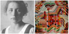 Gunta Stölzl y un tapiz suyo de la época de la Bauhaus