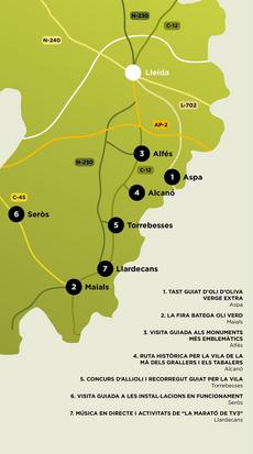 Mapa Camins d'or líquid al Segrià Sec 2019