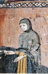 Jueu amb rodella, pintura del segle XIV, catedral de Tarragona