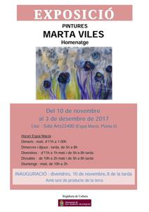 Cartell de l'exposició de pintures en homenatge a l'artista borgenca Marta Viles.