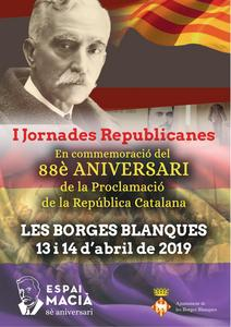Cartell de les 'I Jornades Republicanes' a les Borges Blanques