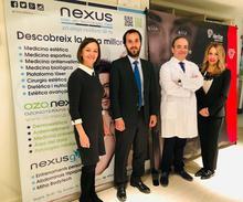 Montse Monjo, directora gerent de Clínica Nexus; Dr. Pinós, director mèdic de Clínica Nexus; Aleix Serrahíma, director de desenvolupament de negoci de Veritas Interncontinental; Laura Sánchez, directora de màrqueting de Clínica Nexus