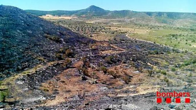 Un incendi crema 9 hectàrees de matolls a Seròs