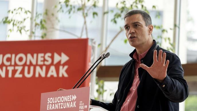 El president del govern espanyol, Pedro Sánchez, durant el seu míting electoral a Sant Sebastià