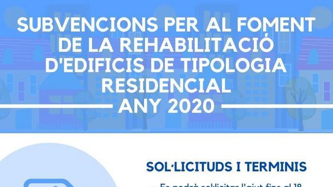 Oberta la convocatòria d'ajuts per a la rehabilitació d'edificis de tipologia residencial 2020