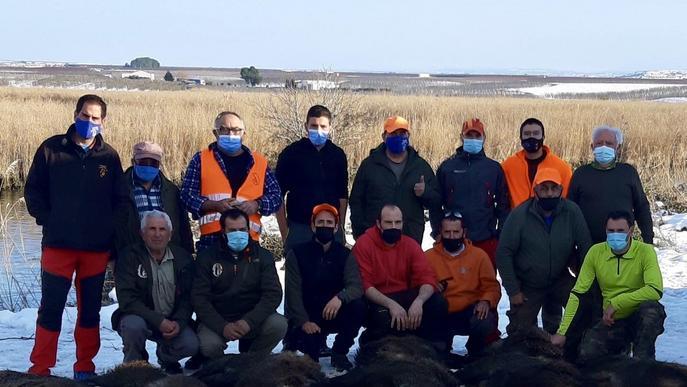 Batuda històrica a Torres de Segre per a reduir la població de porcs senglars