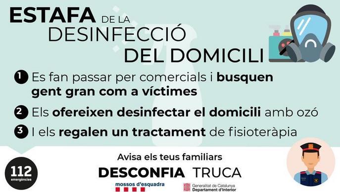 Un municipi lleidatà alerta d'una estafa a gent gran simulant una desinfecció al domicili