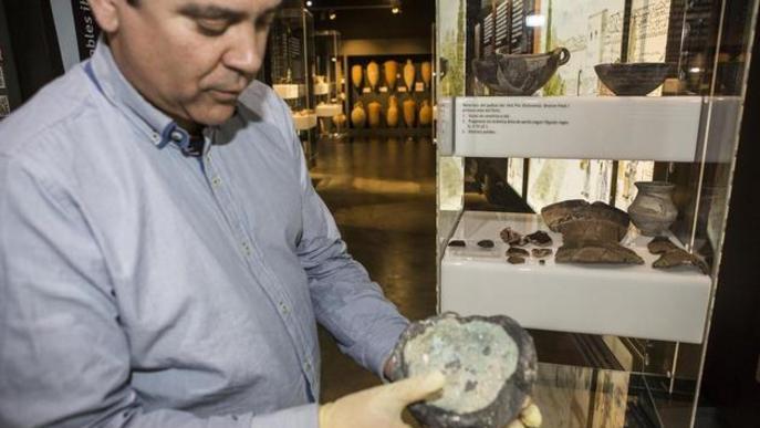 Exposen un gresol ibèric trobat a la plaça Cap de Vila de Guissona