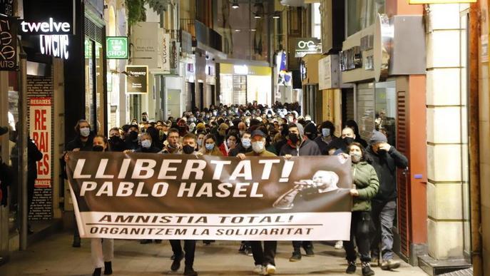 Manifestació de suport al raper Pablo Hasél