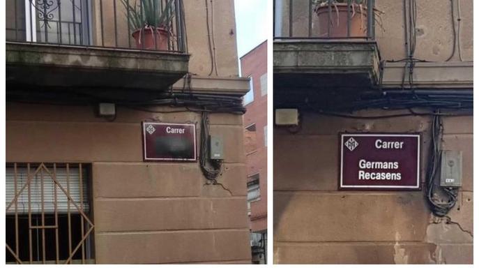Les plaques de carrers 'franquistes' apareixen amb els noms ratllats