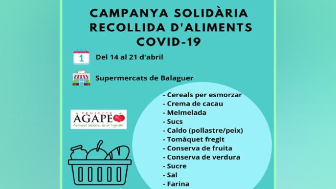 Recollida solidària d'aliments als comerços de Balaguer