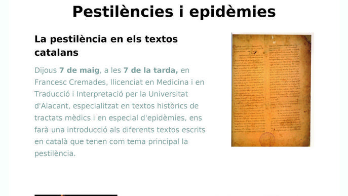 El Museu Tàrrega Urgell programa conferències virtuals sobre la pandèmia de la pesta a l'Edat Mitjana