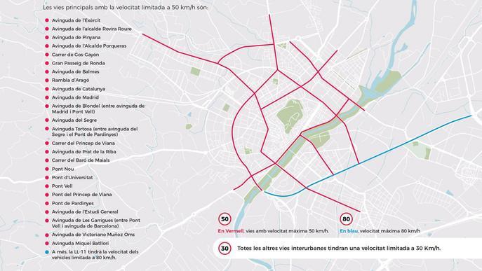 Només 26 carrers de Lleida permetran una velocitat de circulació superior a 30 km/h