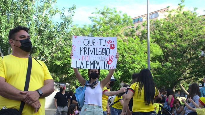 Manifestació a Lleida per donar suport al Paro Nacional de Colòmbia