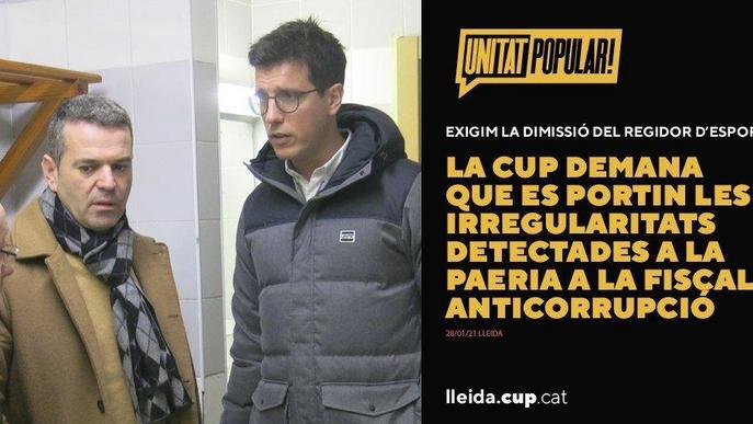 La CUP Lleida demana la dimissió del regidor d'esports de la Paeria