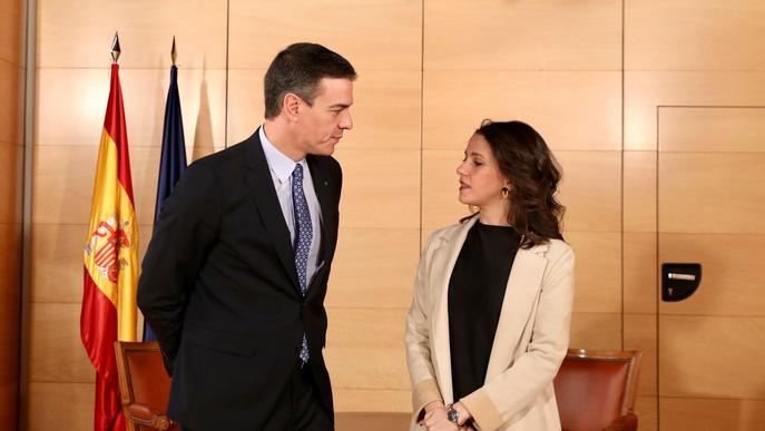 El líder del PSOE, Pedro Sánchez, i la de Cs, Inés Arrimadas, reunits al Congrés dels Diputats