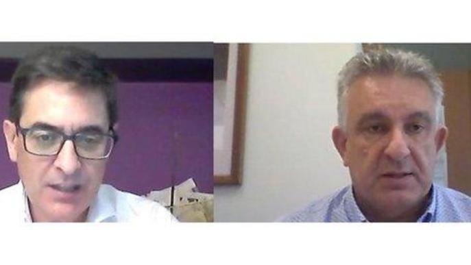 Moment de les intervencions de Jaume Saltó, president de Pimec Lleida, i el gerent de l'Àrea institucional de Pimec, Àngel Hermosilla, en la presentació de l'enquesta sobre l'afectació de la covid-19 al Segrià