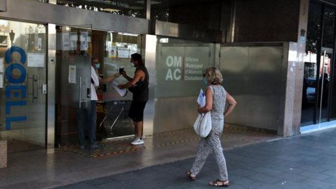 Pla obert de l'entrada a l'OMAC de Lleida