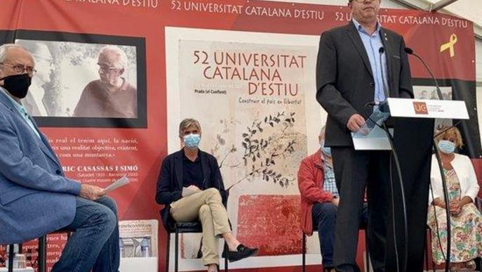 Pla general on es pot veure al president de la Diputació de Lleida, Joan Talarn, durant la seva intervenció a la inauguració de la 52a edició de la UCE a Prada de Conflent
