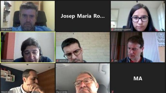 Captura de pantalla de la reunió telemàtica del Consell Comarcal del Segrià per abordar la tramitació dels ajuts al comerç i la restauració per la crisi de la covid-19