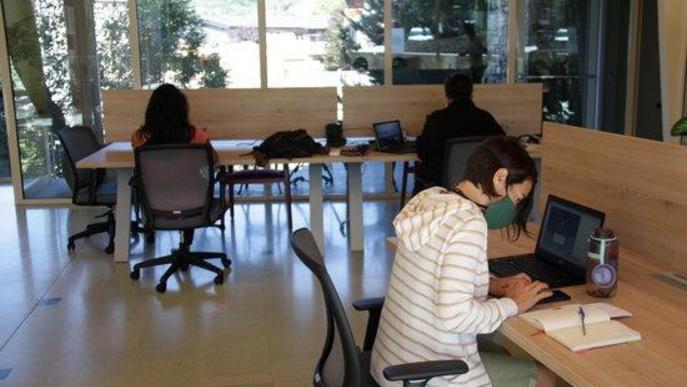 Pla obert de l'interior de l'espai de 'coworking' de Prullans (Cerdanya) on es veuen diverses persones treballant-hi