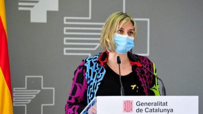 Pla mitjà de la consellera de Salut, Alba Vergés, durant la presentació de l'ampliació de l'Hospital Verge de la Cinta de Tortosa
