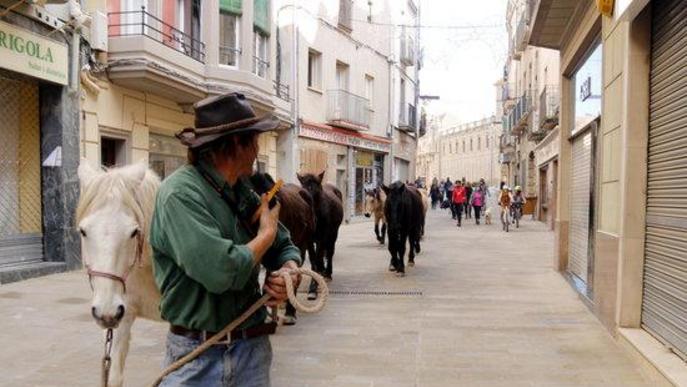 Pla mitjà d'un voluntari de la Fundació Miranda mentre vigila els cavalls durant la transhumància al seu pas per Cervera