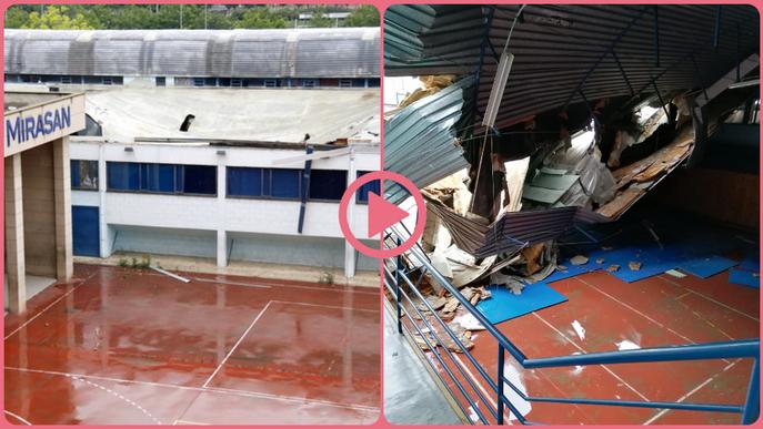 ⏯️ S'ensorra una teulada al col·legi Mirasan de Lleida