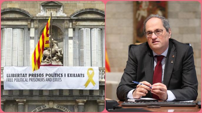 """ℹ️ El pols de Torra amb la JEC i la justícia per la pancarta en favor de """"presos polítics i exiliats"""""""