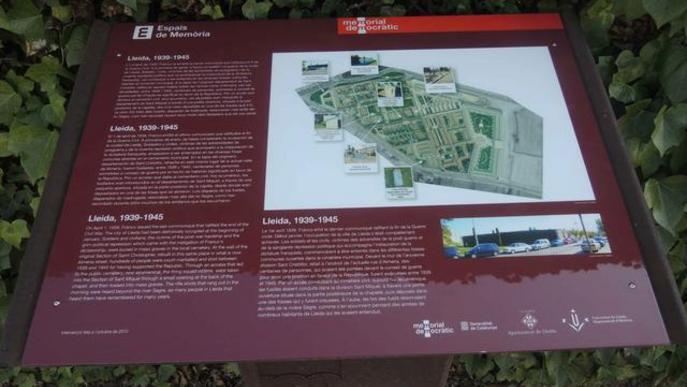 L'Ajuntament de Lleida reposa els panells informatius dels espais de Memòria Democràtica
