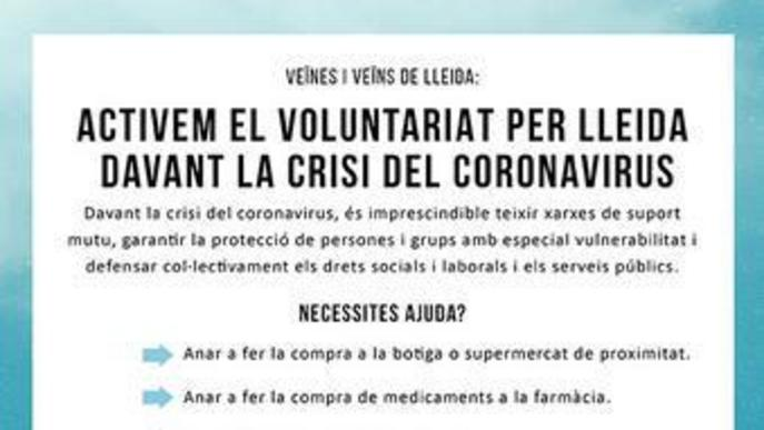 283 persones s'ofereixen voluntàries a la Xarxa Solidaritat Lleida