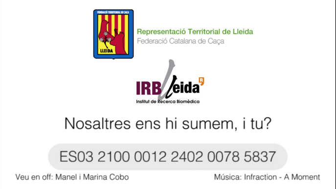 La Federació de Caça de Lleida recapta fons per la recerca contra el coronavirus a l'IRBLleida