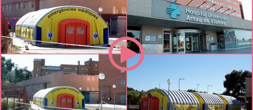 Entra en servei l'hospital de campanya instal·lat a l'exterior de l'Arnau de Vilanova de Lleida